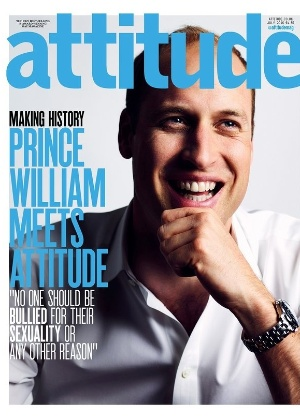 "Capa da revista LGBT ""Attitude"" com o príncipe William"
