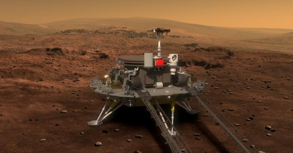 ROBÔ CHINÊS - A China divulgou as primeiras imagens sintéticas do veículo teleguiado que pretende enviar a Marte em 2020. O país investiu bilhões de dólares no programa espacial para compensar o atraso em relação aos Estados Unidos e Europa. Em abril, os chineses anunciaram a intenção de enviar um robô a Marte