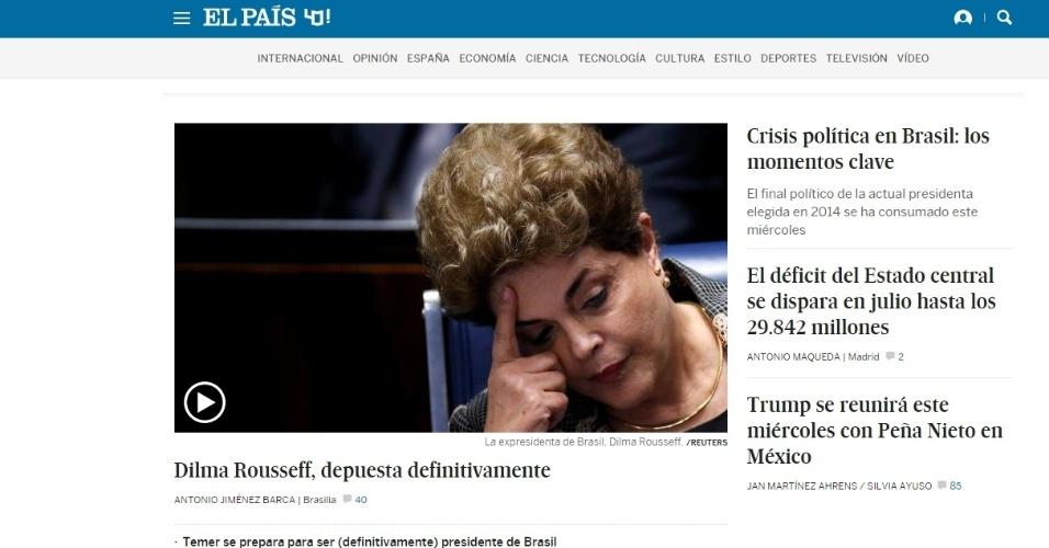 """31.ago.2016 - O impeachment da presidente Dilma Rousseff doi destaque no jornal espanhol """"El País"""". O períodico ressaltou que o processo termina com o mandato da primeira mulher presidente do Brasil e coloca fim aos 13 anos de governo do PT"""