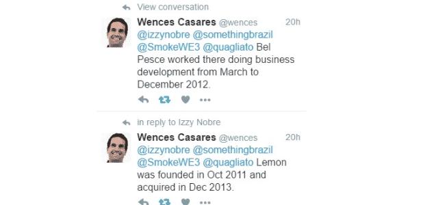 Wences Casares tuíta sobre Bel Pesce, dizendo que ela trabalhou na Lemon só em 2012 - Reprodução/Twitter - Reprodução/Twitter