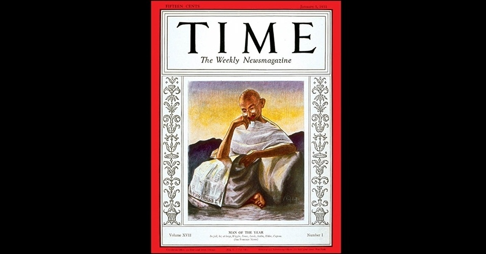 Mahatma Gandhi (1930) - Líder do movimento indiano pela independência, que pressionou o Império Britânico a abrir mão do controle da Índia, o que aconteceria em 1947, Gandhi também era referência espiritual e propagador da resistência sem uso de volência. Em 1930, ele liderou uma marcha de 390 km em protesto contra os impostos cobrados pelos britânicos