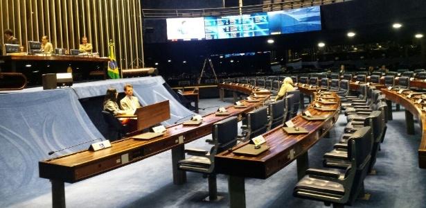 Plenário do Senado está vazio; início da votação estava marcado para as 10h - Felipe Amorim/UOL