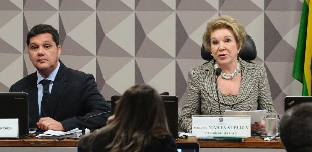 Senadores Marta Suplicy e Ricardo Ferraço durante sessão que votou reforma trabalhista - Geraldo Magela/Agência Senado