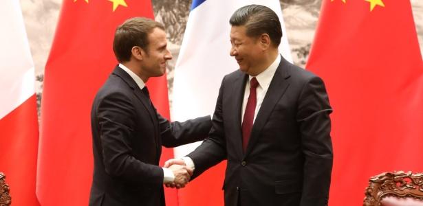 9.jan.18 - Emmanuel Macron e Xi Jinping, em entrevista coletiva em Pequim