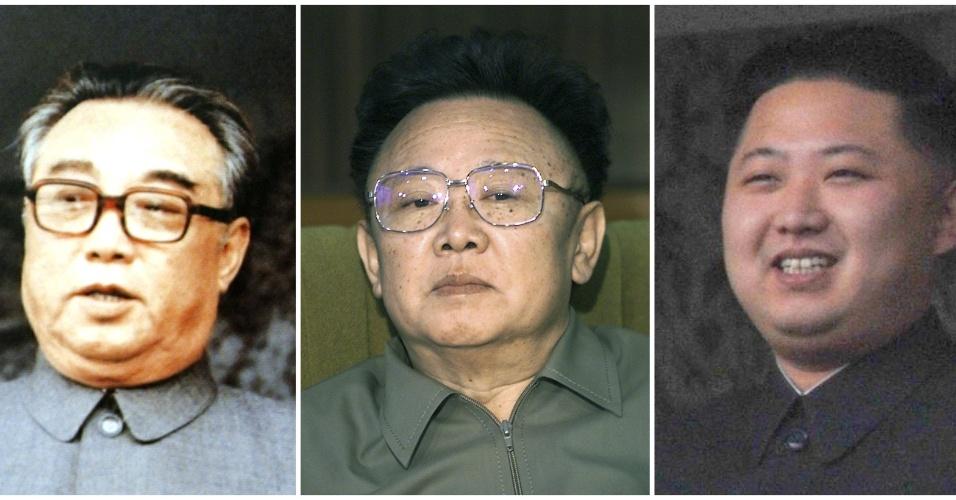 Da esquerda para a direita, Kim Il-sung, fundador do estado norte-coreano, Kim Jong-il e Kim Jong-un. Três gerações da mesma família que comandaram o país