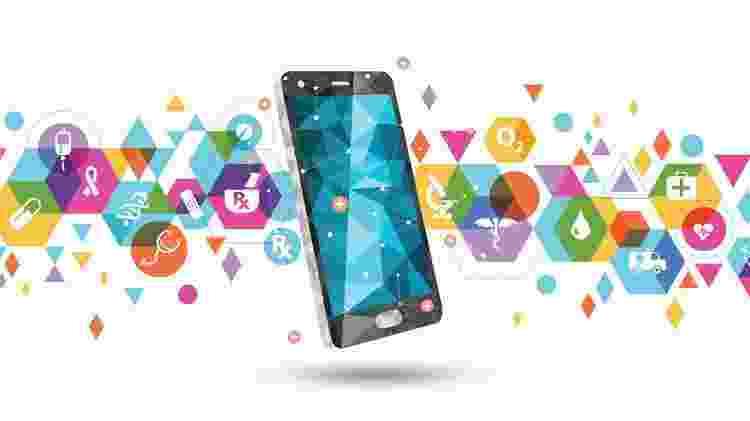 Design; smartphone; celular; saúde digital - Getty Images - Getty Images