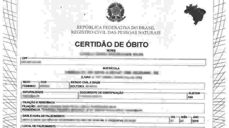 Atestado de óbito que teria vazado do banco de dados da Unimed, segundo grupo WhiteHat Brasil - Reprodução