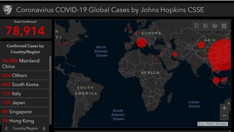 Mapa do coronavírus elaborado pelo Centro de Ciência e Engenharia de Sistemas da Universidade Johns Hopkins (EUA) - Reprodução