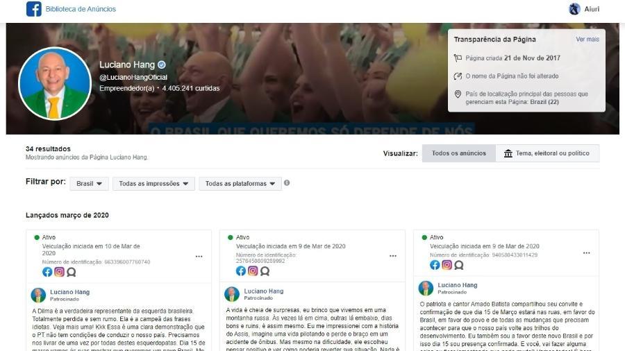 Biblioteca de Anúncios do Facebook mostra postagens patrocinadas da página oficial de Luciano Hang que convocam para ato pró-Bolsonaro - Reprodução/Facebook