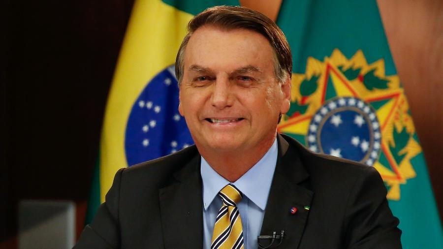 2.jun.2021 - O presidente Jair Bolsonaro (sem partido), durante pronunciamento em rede nacional de rádio e TV - Anderson Riedel/PR