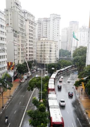 Motoristas em protesto nas ruas de São Paulo na última quinta-feira (19)
