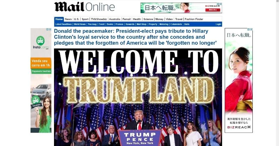 """09.nov.2016 - O tabloide britânico Daily mail traz em seu site a manchete """"Bem-vindos ao mundo de Trump"""""""