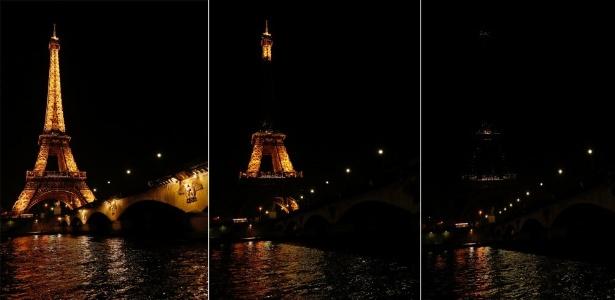 A Torre Eiffel, na França, ficou no escuro pela campanha para a Hora do Planeta