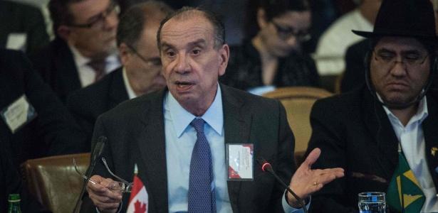 O chanceler brasileiro, Aloysio Nunes Ferreira, fala em reunião da ONU em Washington
