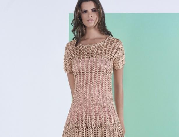 Renata Campos vestido de crochê rede