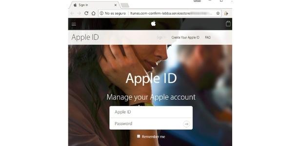 O golpe começa em um e-mail que, posteriormente, direciona a um site idêntico ao usado para fazer login em serviços como o iTunes