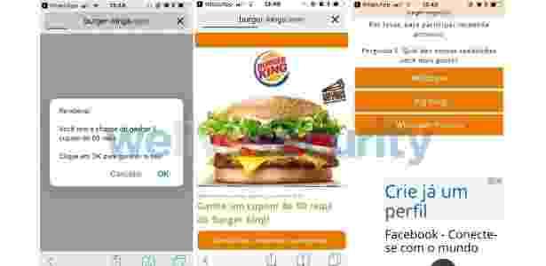 4.jan.2018 - Golpe que promete cupons falsos do Burger King circula pelo WhatsApp 2 - Reprodução - Reprodução