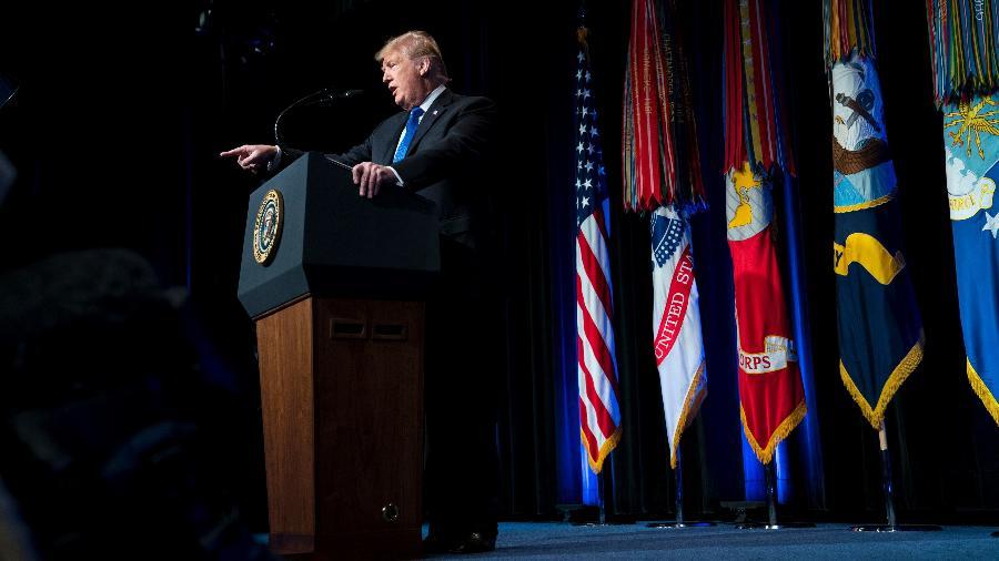 17.jan.2019 - O presidente americano, Donald Trump, faz um discurso no Pentágono em Arlington, na Virgínia - Doug Mills/The New York Times