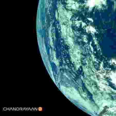 Nave da missão Chandrayann-2 registrou imagem da Terra - Divulgação/ISRO
