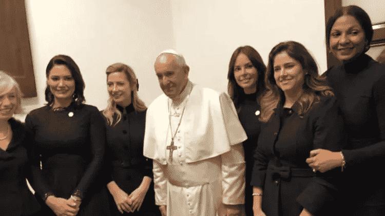 Papa Francisco recebe primeiras-damas latino-americanas em Roma, incluindo Michelle Bolsonaro - Reprodução/Ansa