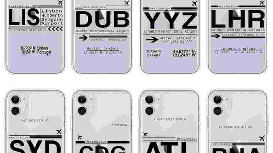 Códigos de aeroportos estampam produtos, como capas de celular - Divulgação