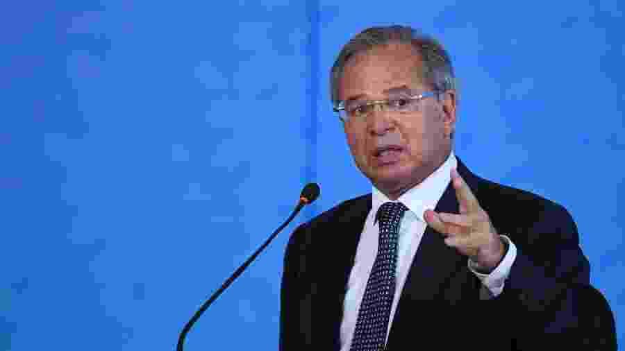 O ministro da Economia, Paulo Guedes, na Cerimônia 100 milhões de Poupanças Digitais - Mateus Bonomi/AGIF/Estadão Conteúdo
