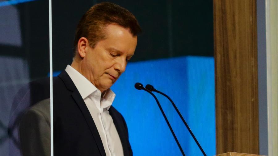 Celso Russomanno (Republicanos) se concentra pouco antes do início do debate da TV Cultura - Suamy Beydoun/Agif/Estadão Conteúdo