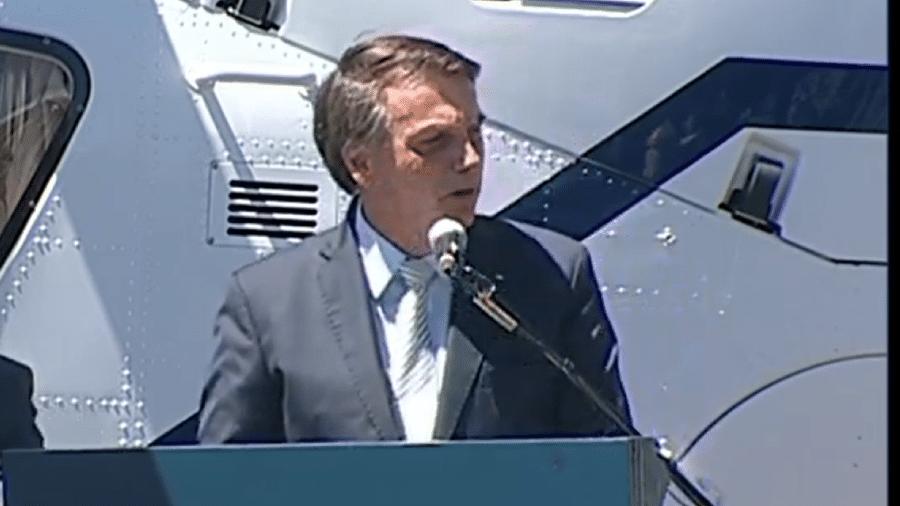20.jan.2021 - O presidente Jair Bolsonaro (sem partido) participa da cerimônia 80° aniversário do Comando da Aeronáutica, na Base Aérea de Brasília - Reprodução/Presidência da República