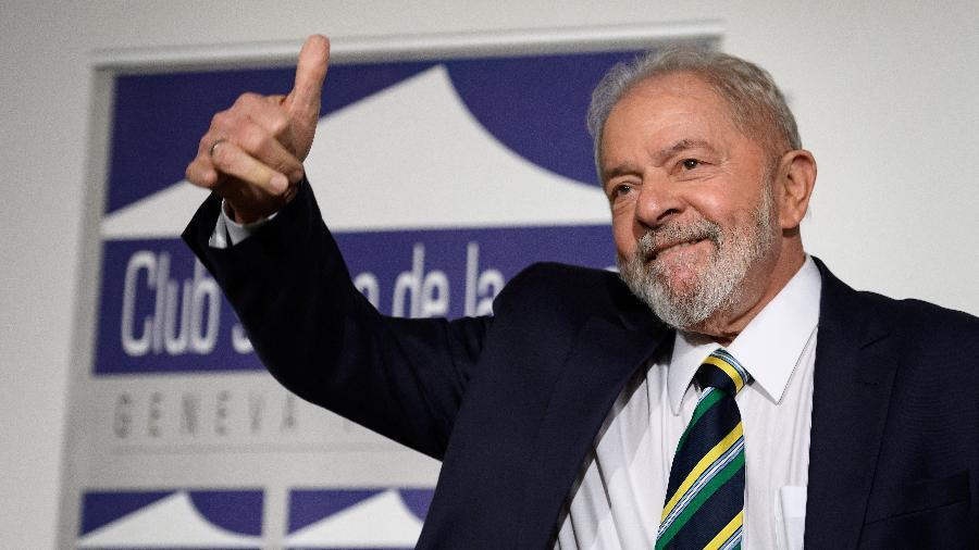 6.mar.2020 - O ex-presidente Luiz Inácio Lula da Silva durante evento sobre desigualdade em Genebra, na Suíça - Fabrice Coffrini/AFP