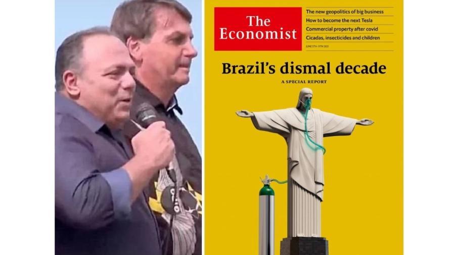 Pazuello ao lado de Bolsonaro em palanque golpista e a capa da revista Economist, que expressa o entendimento de boa parte do mundo sobre o Brasil - Reprodução/Reprodução
