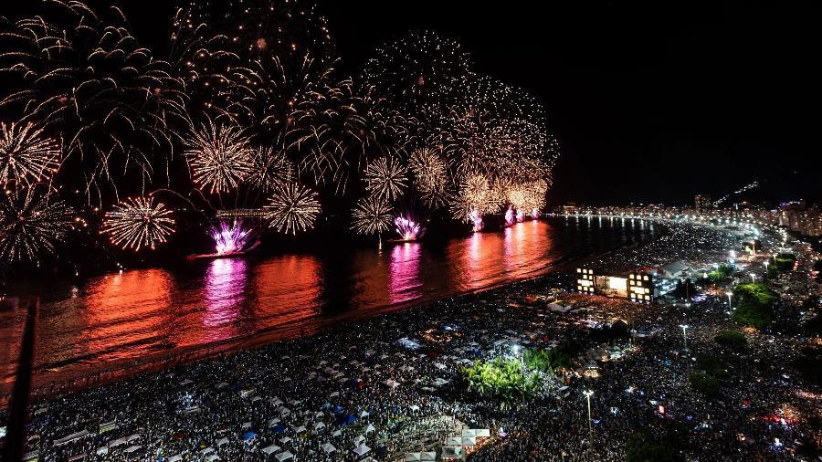 1.jan.2020 - Última festa de Réveillon em Copacabana reuniu quase 3 milhões de pessoas - Alex Ferro/Riotur