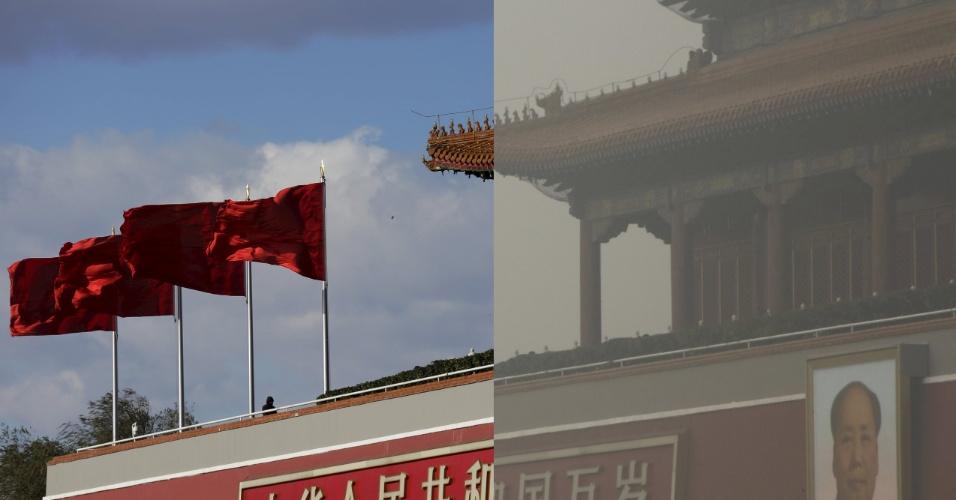 Retrato gigante de Mao Tsé-Tung no portão de Tiananmen também fica afetado com a poluição severa em Pequim. Em foto de 2 de dezembro, o local é visto sem problemas e até com certa beleza. Já em 1 de dezembro o ar poluído afeta a visibilidade do tradicional ponto turístico