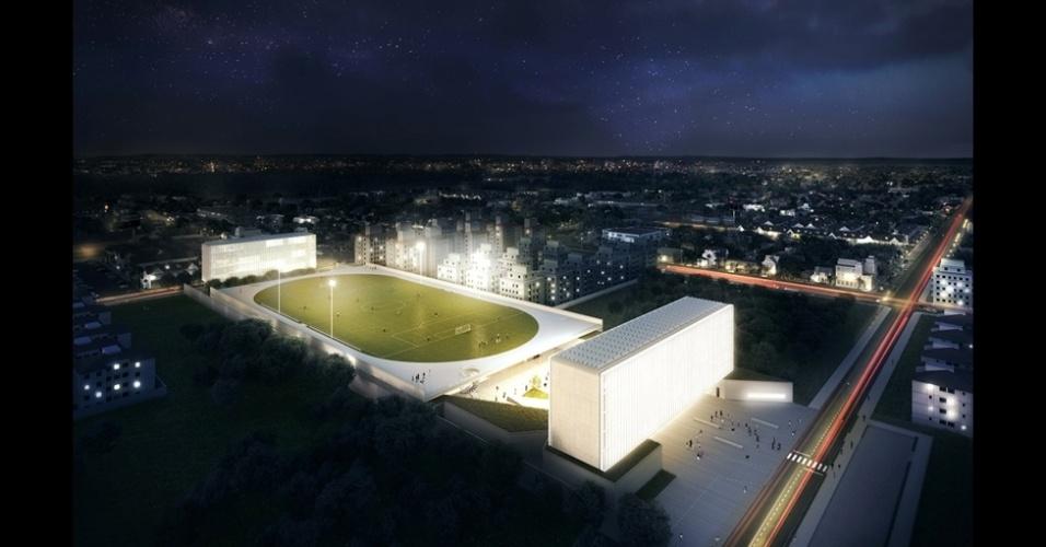 """O campus Igara da UFCSPA (Universidade Federal de Ciências da Saúde de Porto Alegre), no Rio Grande do Sul, foi o projeto vencedor na categoria Esportes e Estádios. O escritório OSPA Arquitetura e Urbanismo criou um centro de educação esportiva que inclui um campo de futebol """"flutuante""""."""