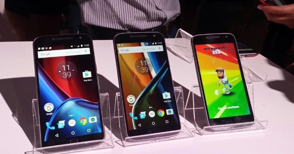 17.mai.2016 - A Motorola lançou a quarta geração da família de smartphones Moto G, com três modelos: o Moto G, o Moto G Plus e Moto G Play. Os dois primeiros já a venda no Brasil por R$ 1.299 e R$ 1.499, respectivamente. A previsão é que o outro comece a ser vendido em agosto