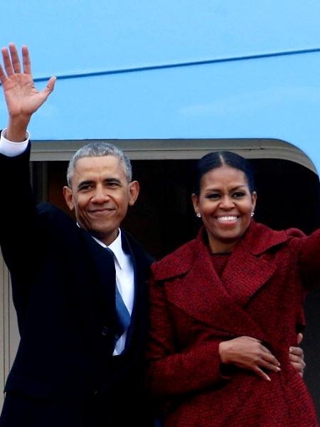 20.jan.2017 - O ex-presidente dos EUA Barack Obama e sua mulher, Michelle Obama - Brendan McDermid/Reuters