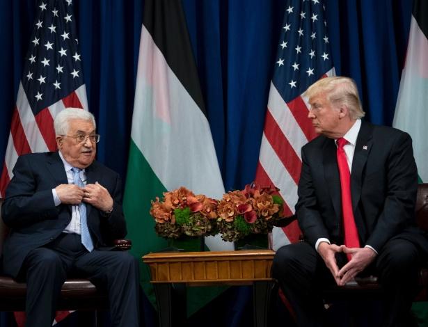 O presidente dos EUA, Donald Trump, em encontro com o presidente palestino Mahmoud Abbas, em Nova York