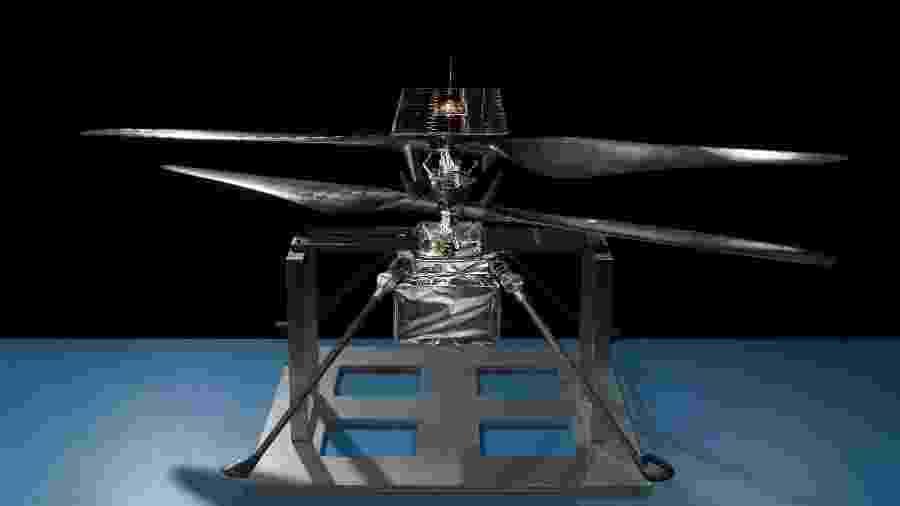 Imagem do modelo de voo do helicóptero da Nasa que será enviado a Marte - Divulgação/Nasa