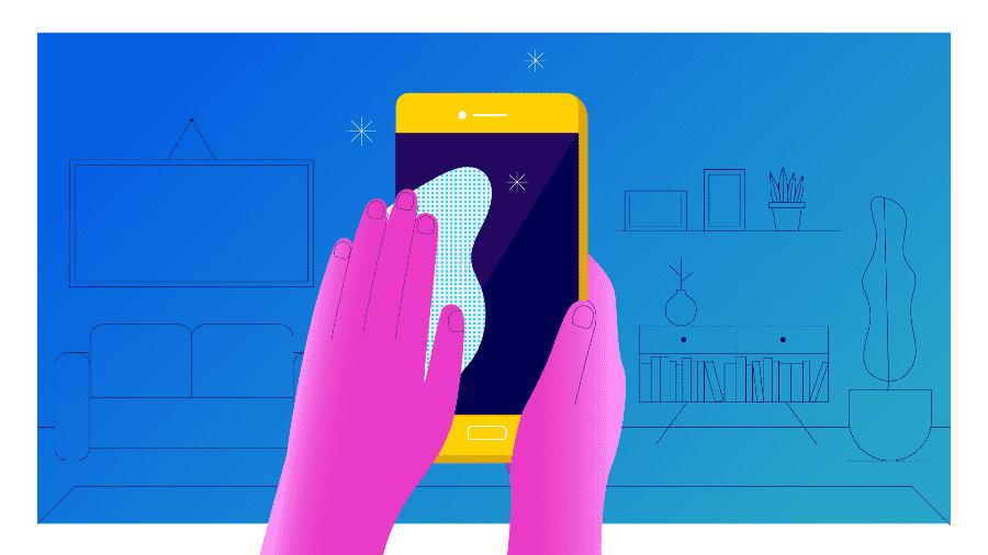 Limpar a tela do seu celular é importante, mas há maneiras corretas de fazer isso - Arte UOL