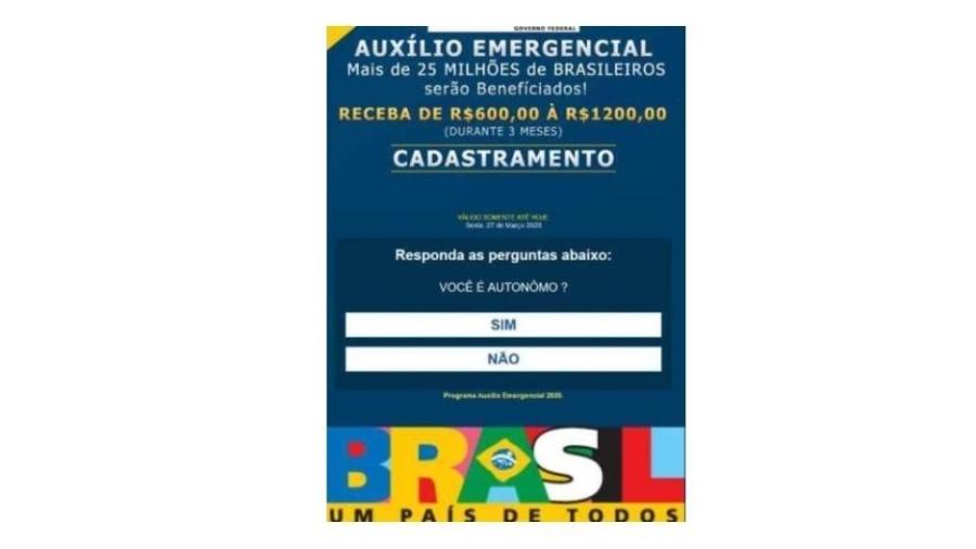 Exemplo de mensagem falsa que promete cadastro para liberar auxílio emergencial - Reprodução