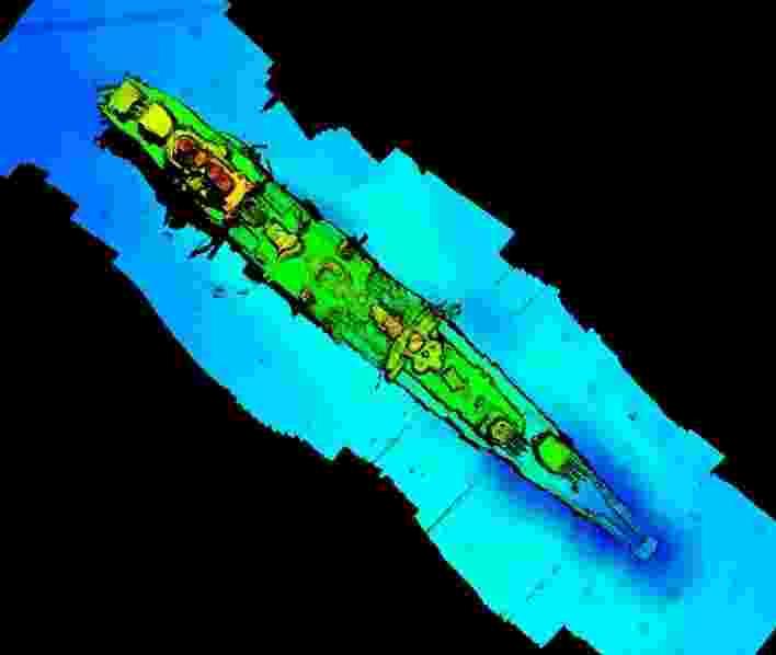 """Uma varredura de sonar do cruzador de navio de guerra alemão afundado """"Karlsruhe"""" que havia sido observado a 13 milhas náuticas de Kristiansand na Noruega, de acordo com Statnett - Statnett/via REUTERS"""