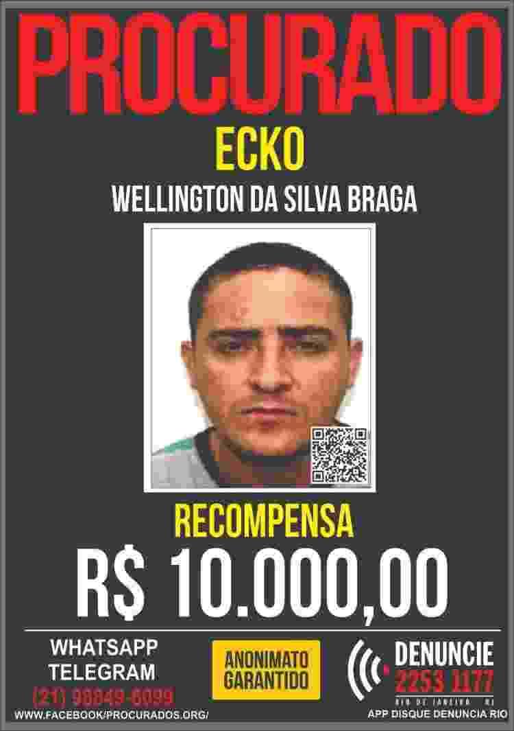 Wellington da Silva Braga, o Ecko, está foragido --R$ 10 mil são oferecidos pelo Disque Denúncia por informações que levem a seu paradeiro - Reprodução - Reprodução