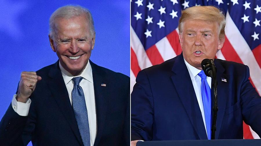 Investidores acompanham a apuração dos votos de perto e apostam em vitória de Joe Biden (à esq.) - Angela Weiss e Mandel Ngan/AFP