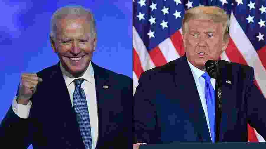O democrata Joe Biden e o republicano Donald Trump, adversários nas eleições 2020 - Angela Weiss e Mandel Ngan/AFP