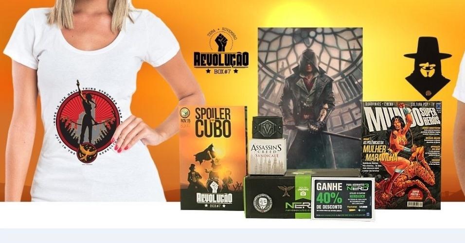 Itens que já foram enviados aos integrantes do clube de assinatura do site Nerd ao Cubo, criado em abril de 2015
