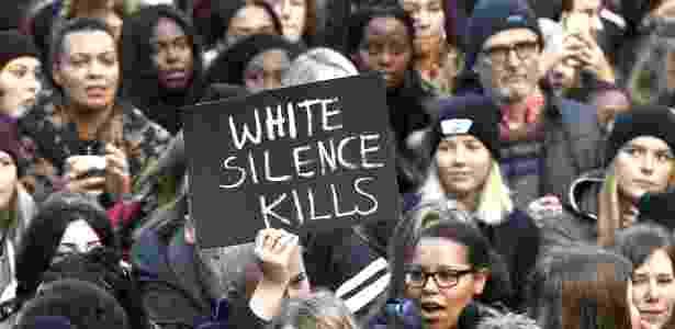 Protesto em Estocolmo contra venda de migrantes africanos - Claudio Bresciani/AFP Photo - Claudio Bresciani/AFP Photo
