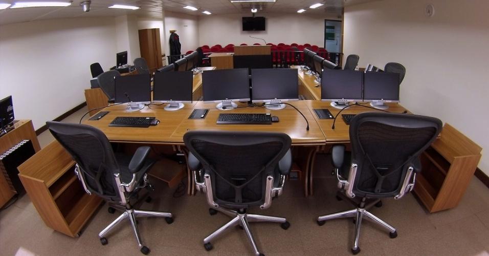 Sala de julgamento da a 8ª Turma do Tribunal Regional Federal da 4ª Turma, em Porto Alegre, onde o ex-presidente Lula vai a julgamento
