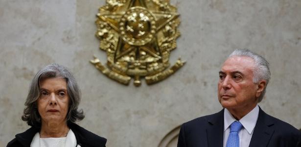 A presidente do STF, Cármen Lúcia, participa ao lado do presidente Michel Temer da solenidade de abertura do ano judiciário