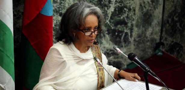 Sahle-Work Zewde, presidente da Etiópia, discursa ao tomar posse no Parlamento em Addis Ababa - Tiksa Negeri/Reuters