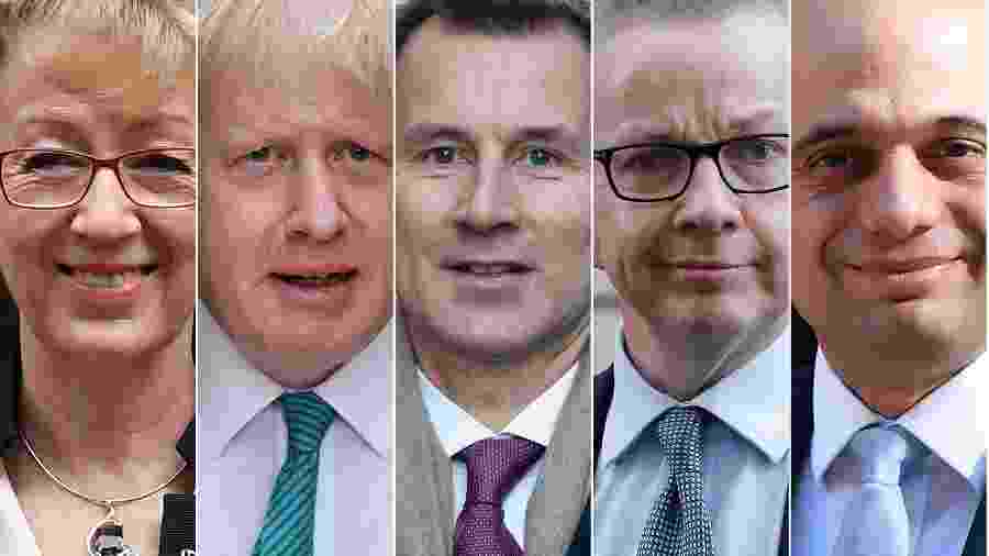 Montagem com as fotos de Andrea Leadsom, Boris Johnson, jeremy Hunt, Michael Gove e Sajid Javid  - STF/AFP