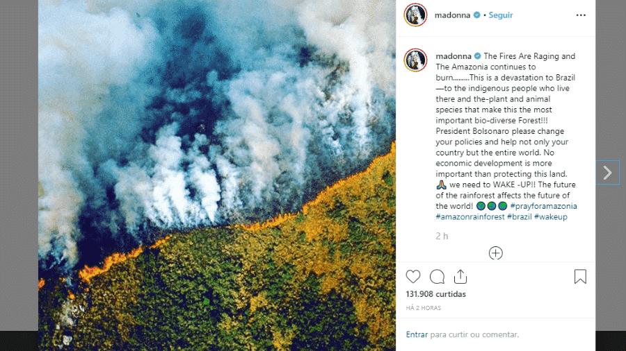22.ago.2019 - Madonna posta no Instagram sobre as queimadas na Amazônia - Reprodução/Instagram @madonna
